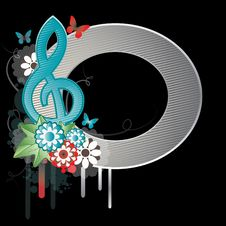 Background With Treble Clef.Vector Illustration Royalty Free Stock Image