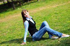 Teen Girl Relaxing In The Park Stock Photos