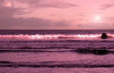 Ballybunion Beach Purple Winter Storm Waves Stock Image