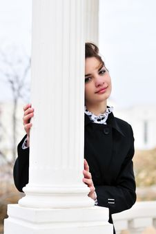 Free Girl Behind Column Royalty Free Stock Photos - 13689978