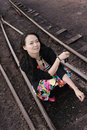 Free Asian Girl Sit On Rail Royalty Free Stock Photo - 13698465