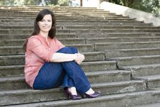 Free Woman On Steps Stock Photos - 13690083