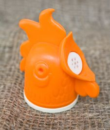 Plastic Container ( Rooster ) Of Salt Or Pepper Stock Photo