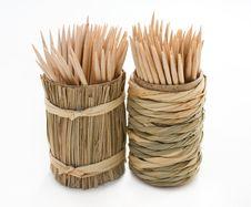 Round Bamboo Box Of Toothpicks Royalty Free Stock Image