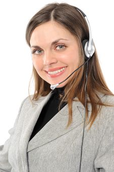 Female Customer Service Representative In Headset Royalty Free Stock Photos