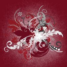 Flowered Red Background Royalty Free Stock Photography