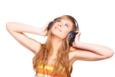 Free Girl With Headphones Stock Image - 13691301
