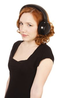 Free Girl Listening To Music On Headphones Royalty Free Stock Photos - 13691558