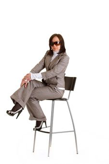 Elegant Business Woman With Timer Royalty Free Stock Photo