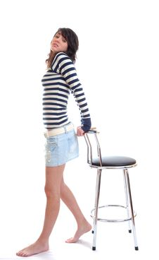 Free Pretty Brunette With Stool Royalty Free Stock Photo - 13691885