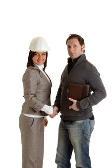 Constructor With Female Architect Royalty Free Stock Image