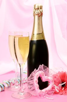 Champagne And Heart Royalty Free Stock Image
