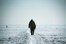 Fisherman In Winter Royalty Free Stock Photo