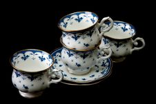 Free Four Tea Cups On Saucer Royalty Free Stock Photography - 13694527