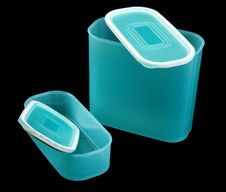 Free Two Blue Translucent Plastic Containers Stock Image - 13694541