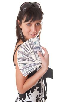 Free Girl And Dollars Stock Image - 13694901