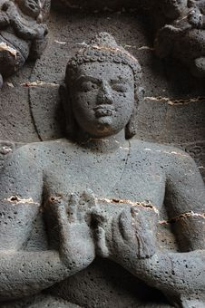 Free Buddha At Ellora Cave Temple Complex ,India Royalty Free Stock Image - 13695376