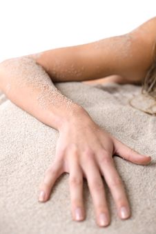Beach - Part Of Female Body, Hand On Sand Royalty Free Stock Photo