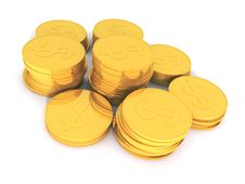 Free 3D Rendering Of Golden Coins Royalty Free Stock Image - 13695876