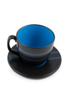 Free Big Black And Blue Empty Mug With Saucer Royalty Free Stock Photos - 13696508
