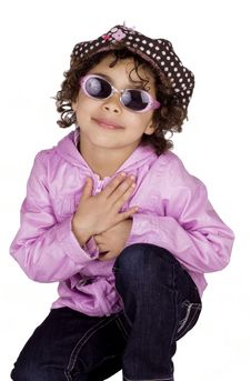 Free Charming Child With Sunglasses Royalty Free Stock Photo - 13696685