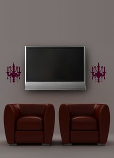 Free Two Red Armchairs With LCD Tv And Sconces Royalty Free Stock Image - 13696766
