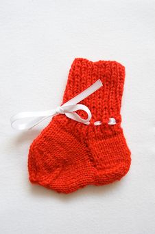 Wool Handmade Baby Socks Royalty Free Stock Image
