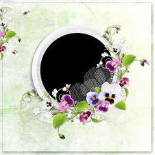 Green Spring Frame With Beautiful Flowers