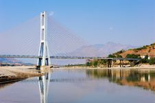 Free Cable Bridge On Blue Sky Stock Photography - 13698082
