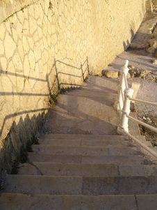 Rock Stairs Down Stock Photo