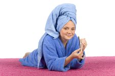 Free Young Woman Dressed Blue Bathrobe And Towel Filing Nails Royalty Free Stock Photo - 1371535