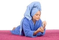 Free Young Woman Dressed Blue Bathrobe And Towel Filing Nails Stock Photo - 1371540