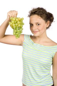 Free Young Woman With Bunch Of Grapes Royalty Free Stock Image - 1371596