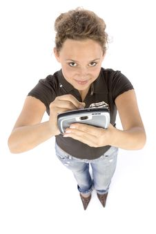 Young Woman With Pocket Computer Or Mobile Phone Stock Image