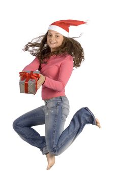 Free Jumping Young Female Santa With Gift Royalty Free Stock Photos - 1371658