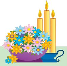 Bouquet And Candles Stock Photography