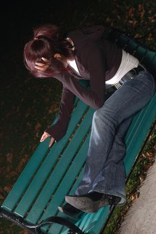 Free Crying Girl On A Park Bench 3 Royalty Free Stock Photo - 1376545