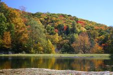 Colorful Fall Foilage On Hills Royalty Free Stock Photos