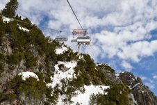 Free Ski Chair Lift Above A Mountain Royalty Free Stock Images - 13701089