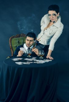 Free Poker, Cognac And Cigar Stock Photography - 13701122