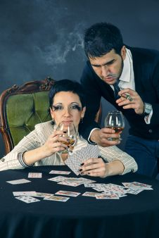 Free Poker, Cognac And Cigar Stock Photos - 13701133