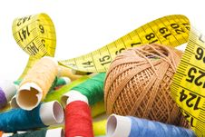 Free Thread With Measuring Tape Royalty Free Stock Photo - 13701365