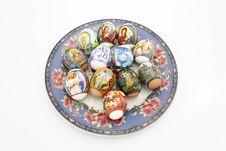 Free Easter Eggs On A Plate Stock Photos - 13702163