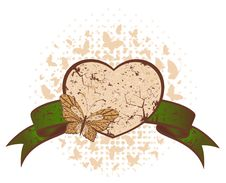 Free Background With  Butterfly And Heart Stock Photos - 13703033