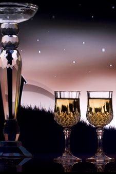 Free Wine Classes With Night Sky Background Stock Photo - 13703350