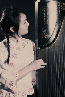 Chinese Zither Musician Stock Photography