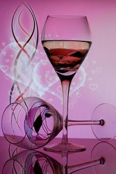 Wine Glasses With Hearts Bubbles Royalty Free Stock Image