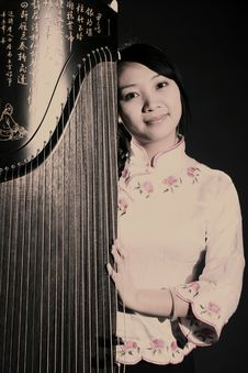Chinese Zither Performer Stock Images