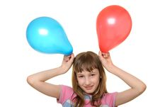 Free Happy Girl With Two Colour Balloons Royalty Free Stock Images - 13703809