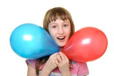 Free Girl With Two Colour Balloons Stock Photos - 13703813